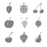 Set of gray icons of fruits Stock Photos