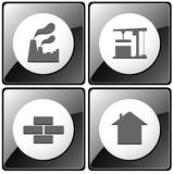 Set of gray industrial button Stock Images