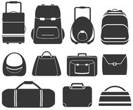 Set gray isolated bag Royalty Free Stock Photography