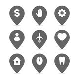 Set of the gray map point. Hand with map pointer icon. Plane with map pointer icon. People with map pointer icon. Tooth stock illustration