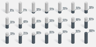 Set of gray percentage charts diagrams for infographics. Set of gray percentage charts for infographics Royalty Free Stock Images