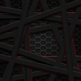 Set 8. gray and red frame on black carbon fiber. Metal background and texture. 3d illustration Royalty Free Stock Photo