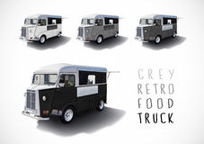 Set of gray scale food trucks, isolated Stock Images