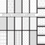 Set of 20 gray seamless patterns Royalty Free Stock Photos