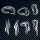 A set of gray smoke. On a transparent background. Cigarette smoke rings realistic style. Vector illustration Royalty Free Stock Photos