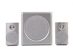 Set of gray sound speakers. Royalty Free Stock Image