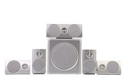 Set of gray sound speakers. Stock Photos