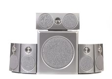 Set of gray sound speakers. Stock Images