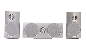 Set of gray sound speakers. Royalty Free Stock Images