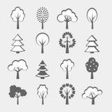 Set of gray trees shape royalty free illustration