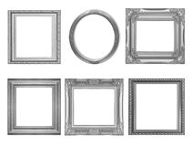 Set of gray vintage frame isolated on white. Background Royalty Free Stock Image