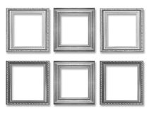 Set of gray vintage frame isolated on white. Background Stock Images