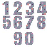 Set of gray watercolor numbers with a print of flowers. watercolor illustration vector illustration