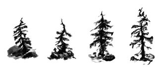 Set of grayscale curved mountain trees Royalty Free Stock Photos