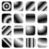 Set of 16 grayscale gradient templates - Rounded square buttons. Royalty free vector illustration Royalty Free Stock Photography