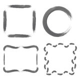 Set with grayscale Watercolour Frames. Set with grayscale Watercolour Brushstroke Frames, such as Circle, Simple Square and Decorative Square Shapes. Vector EPS stock illustration