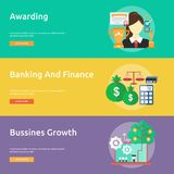 Business and Finance Conceptual Banner Design. Set of great banner flat design illustration concepts for business, finance, marketing and much more Royalty Free Stock Photo