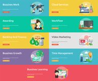 Business and Finance Conceptual Banner Design. Set of great banner flat design illustration concepts for business, finance, marketing and much more Stock Photography