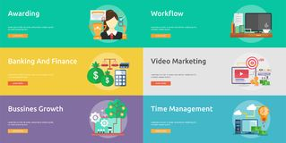 Business and Finance Conceptual Banner Design. Set of great banner flat design illustration concepts for business, finance, marketing and much more Stock Photo