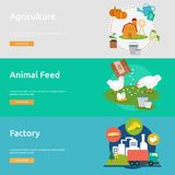Farm and Ranch Banner Design. Set of great banner flat design illustration concepts for Farm, Ranch, harvest, agriculture and much more Royalty Free Stock Photography