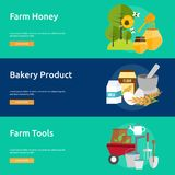 Farm and Ranch Banner Design. Set of great banner flat design illustration concepts for Farm, Ranch, harvest, agriculture and much more Royalty Free Stock Image