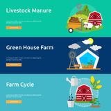 Farm and Ranch Banner Design. Set of great banner flat design illustration concepts for Farm, Ranch, harvest, agriculture and much more Stock Photo