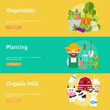 Farm and Ranch Banner Design. Set of great banner flat design illustration concepts for Farm, Ranch, harvest, agriculture and much more Royalty Free Stock Photo