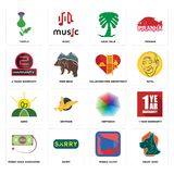 Set of great dane, mobile silent, money back guarantee, heptagon, agro, volunteer fire department, 2 years warranty, saudi palm, t. Set Of 16 simple editable Royalty Free Stock Photography