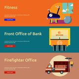 Building Interior Banner Design. Set of great flat icons design illustration concepts for building, interior, furniture, architecture, banner and much more. The Stock Image
