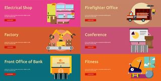 Building Interior Banner Design. Set of great flat icons design illustration concepts for building, interior, furniture, architecture, banner and much more. The Royalty Free Stock Photos