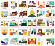 Building Interior. Set of great flat icons design illustration concepts for building, interior, furniture, architecture, and much more. the set can be used for Stock Photography