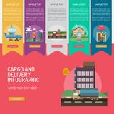 Cargo and Delivery Infographic Complex. Set of great infographic flat design illustration concepts for cargo, delivery, industry, transport and much more Royalty Free Stock Photo