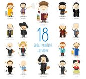 Set of 18 great painters of History in cartoon style. Kids Vector Characters Collection: Set of 18 great painters of History in cartoon style royalty free illustration