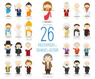 Set of 26 Great Philosophersand Thinkers of History in cartoon style.