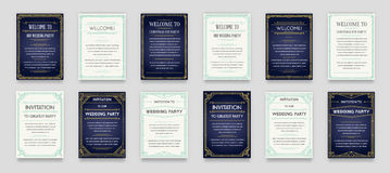 Set of Great Quality Style Invitation in Art Deco or Nouveau Epo Stock Photo
