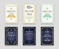 Set of Great Quality Style Invitation in Art Deco or Nouveau Epo Stock Photos
