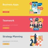 Business Concept Banner Design. Set of great vertical banner flat design illustration concepts for business, marketing, working, idea, event and much more Royalty Free Stock Photos