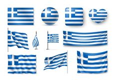 Set Greece flags, banners, banners, symbols, flat icon. Vector illustration of collection of national symbols on various objects and state signs Stock Photos