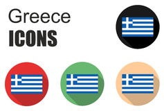 Set greece flat icons Stock Photography