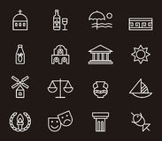 Set of Greece related icons Royalty Free Stock Photo