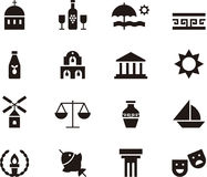 Set of Greece related web icons Royalty Free Stock Image