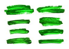 Set of green abstract gouache brush strokes. On a white background Royalty Free Stock Images