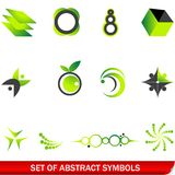 Set of green abstract symbols Royalty Free Stock Image