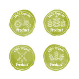 Set of 4 green AGRICULTURAL Badges for organic products Stock Photo