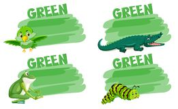 Set of green animal concept vector illustration