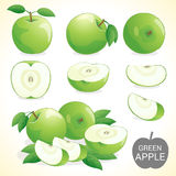 Set of green apple fruit in various styles vector format Royalty Free Stock Photos