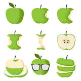 Set of Green apple. Isolated on white background vector illustration Royalty Free Stock Images