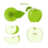 Set of Green Apple and Juicy Apple Slices Royalty Free Stock Photo
