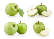 Set green apples Royalty Free Stock Photos