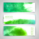 Set of green artistic watercolor backgrounds Stock Photos